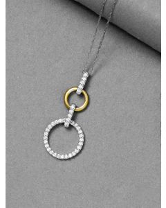 Sterling Silver Cubic Zirconia Double Halo Necklace