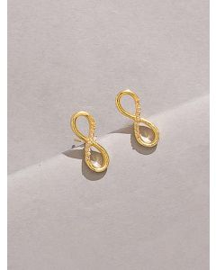 18K Gold Plated Studded Infinity Earrings
