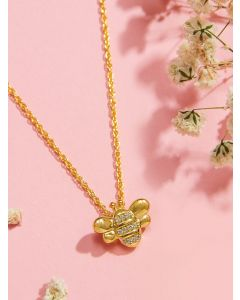 18K Gold Plated Sterling Silver Studded Bee Baby Necklace