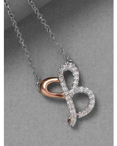 Sterling Silver Cubic Zirconia B Initial Pendant Necklace