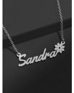 Pipa Bella Silver-Plated Personalized Floral Name Necklace