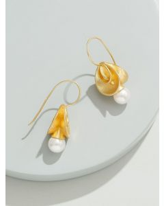 Pipa Bella Yellow Earrings Embellished With White Pearl